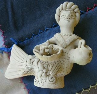 Blanco Family Mermaid Birds Mexican Folk Art Pottery Sculpture Oaxaca