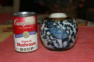 Interesting Asian Small Pottery Vessel Vase Jar - Signed - Blue & White Flowers - Lqqk