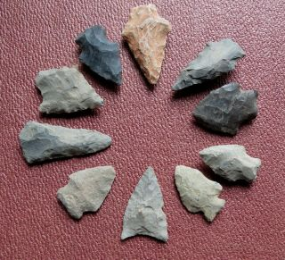 Fine Group Of 10 Arrowheads From Lancaster County Pa - Native American Indian